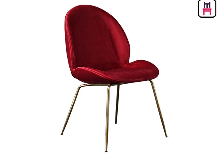 Red Blue Velvet Beetle Lounge Chair , Dining Room Chairs With Metal Legs